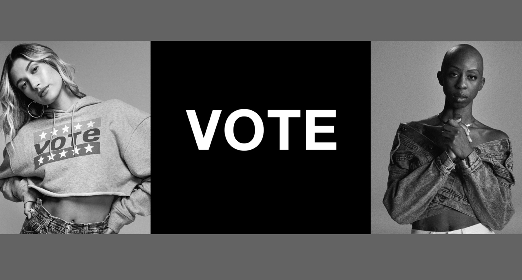 Brand Levi's Partnership, Vote About It marketing campaign with 2 models wearing vote-themed clothing