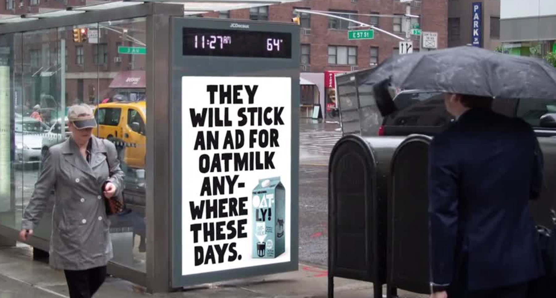 Brand Oatly's advertisement at bus stop