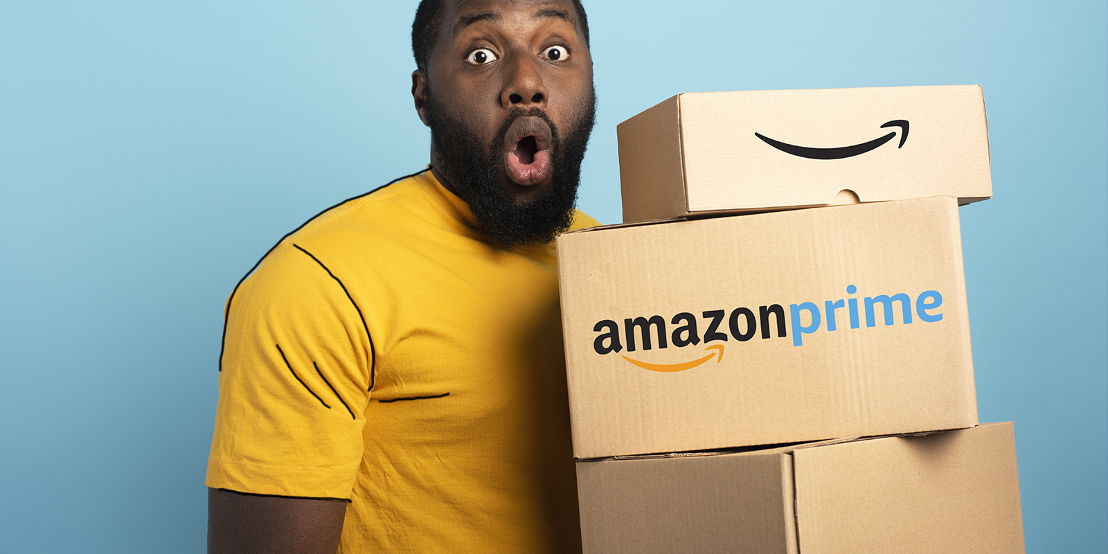 a man holding Amazon prime boxes, ready to boost distribution