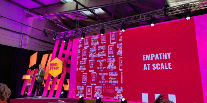KFC marketing, giving a speech at MAD//Fest london, old truman brewery, on how to build empathy through brand measurement