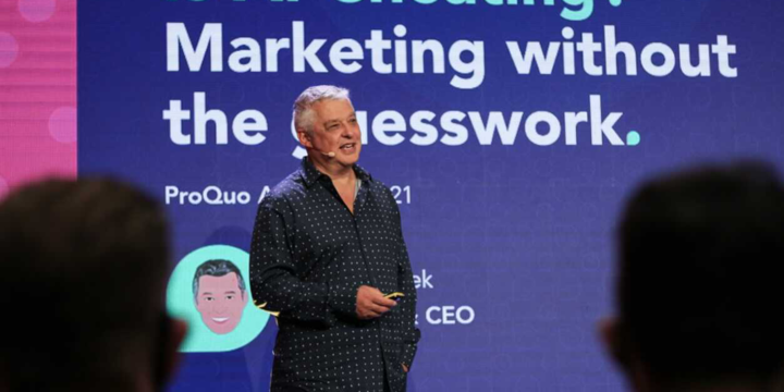 ProQuo AI, marketing, giving a speech at MAD//Fest london on how AI can help marketing