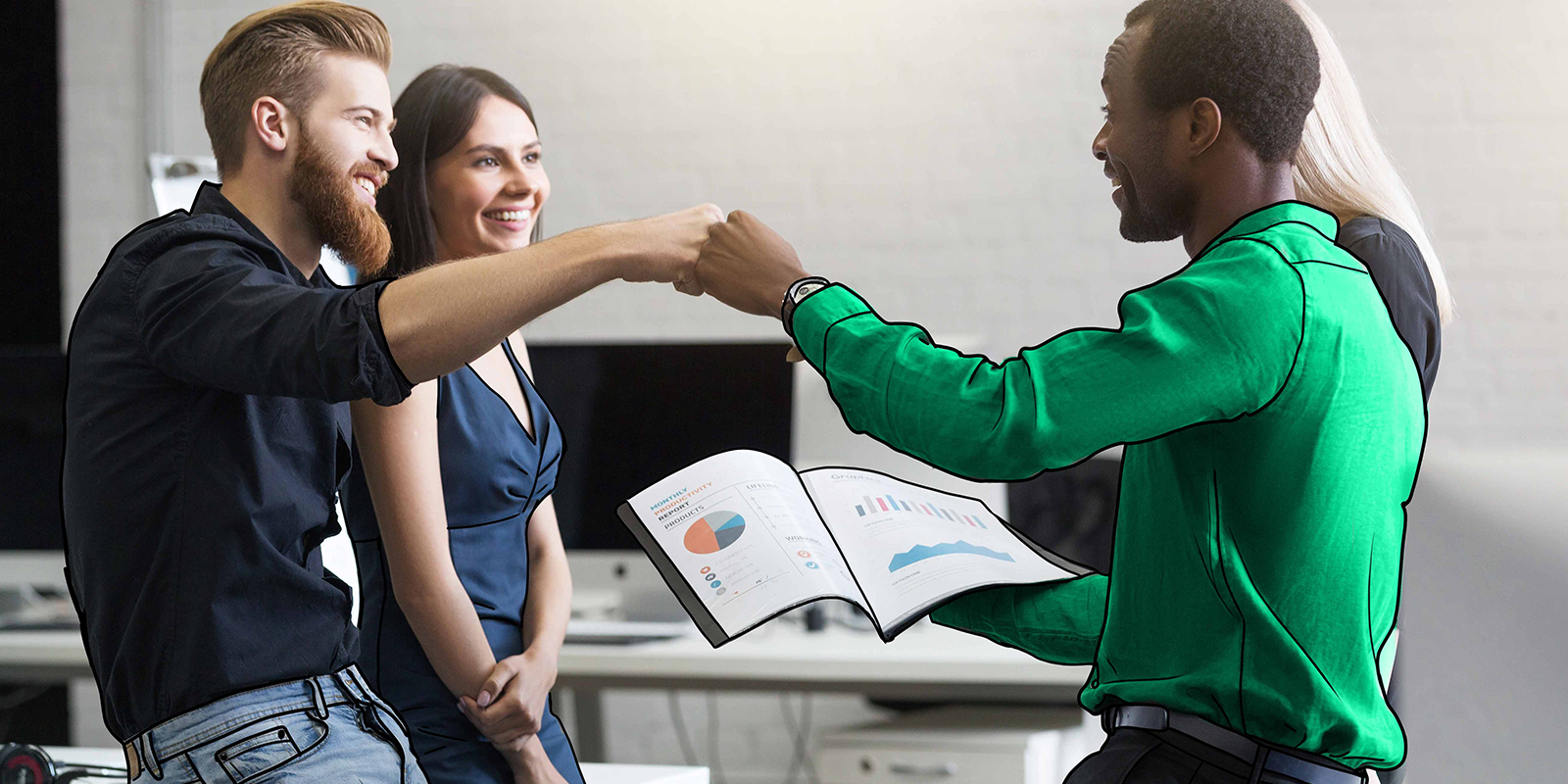 two marketers fist bumping over a marketing report