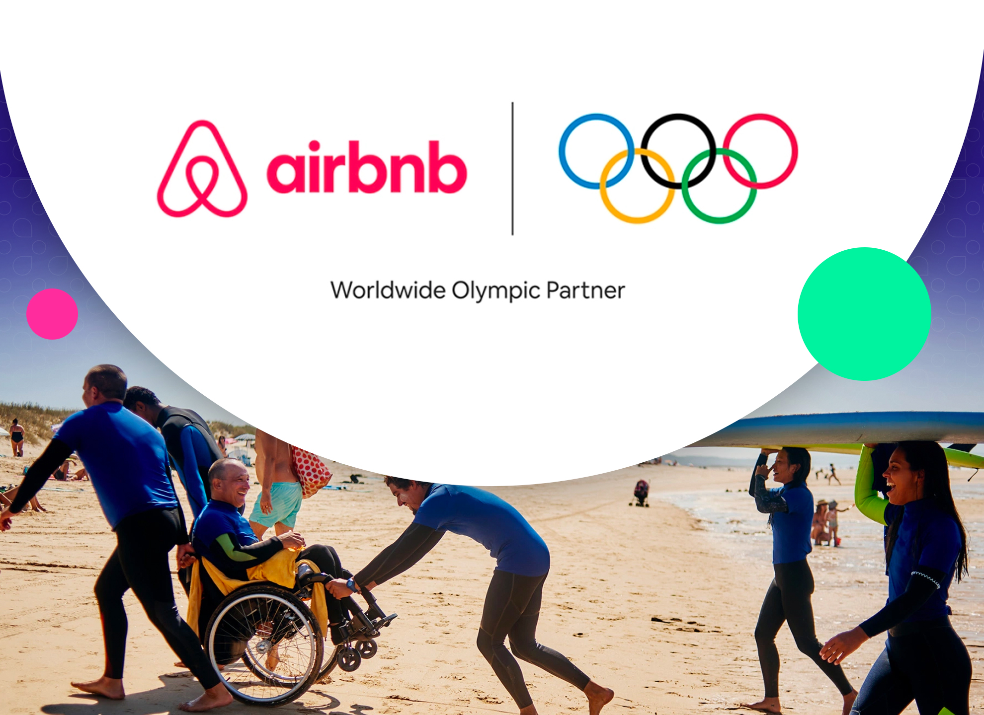 Partnership advertisement between brands Airbnb and the Olympics