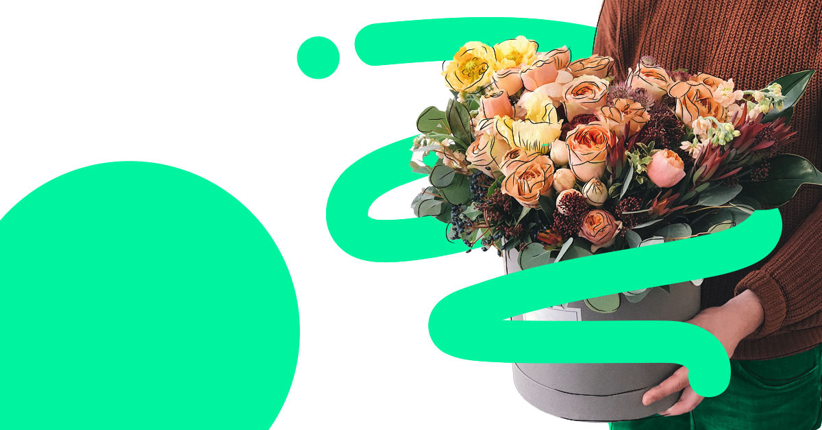 ProQuo AI: delivery person holding a bouquet of colourful flowers