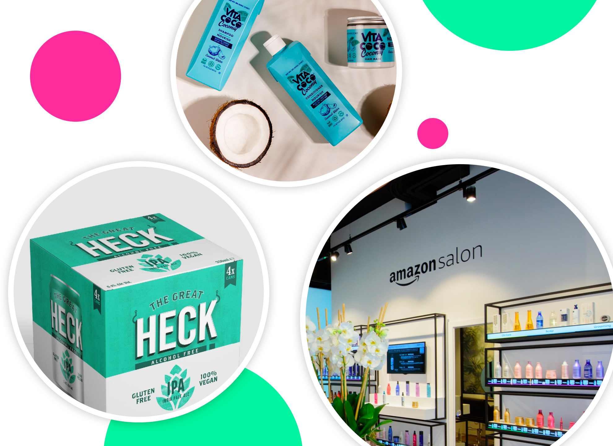 Haircare products from brands Amazon, Vita Coco and Heck