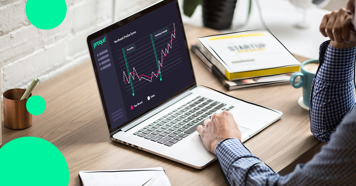 A brand manager using the ProQuo AI platform on a desktop to analyze brand performance with real-time data
