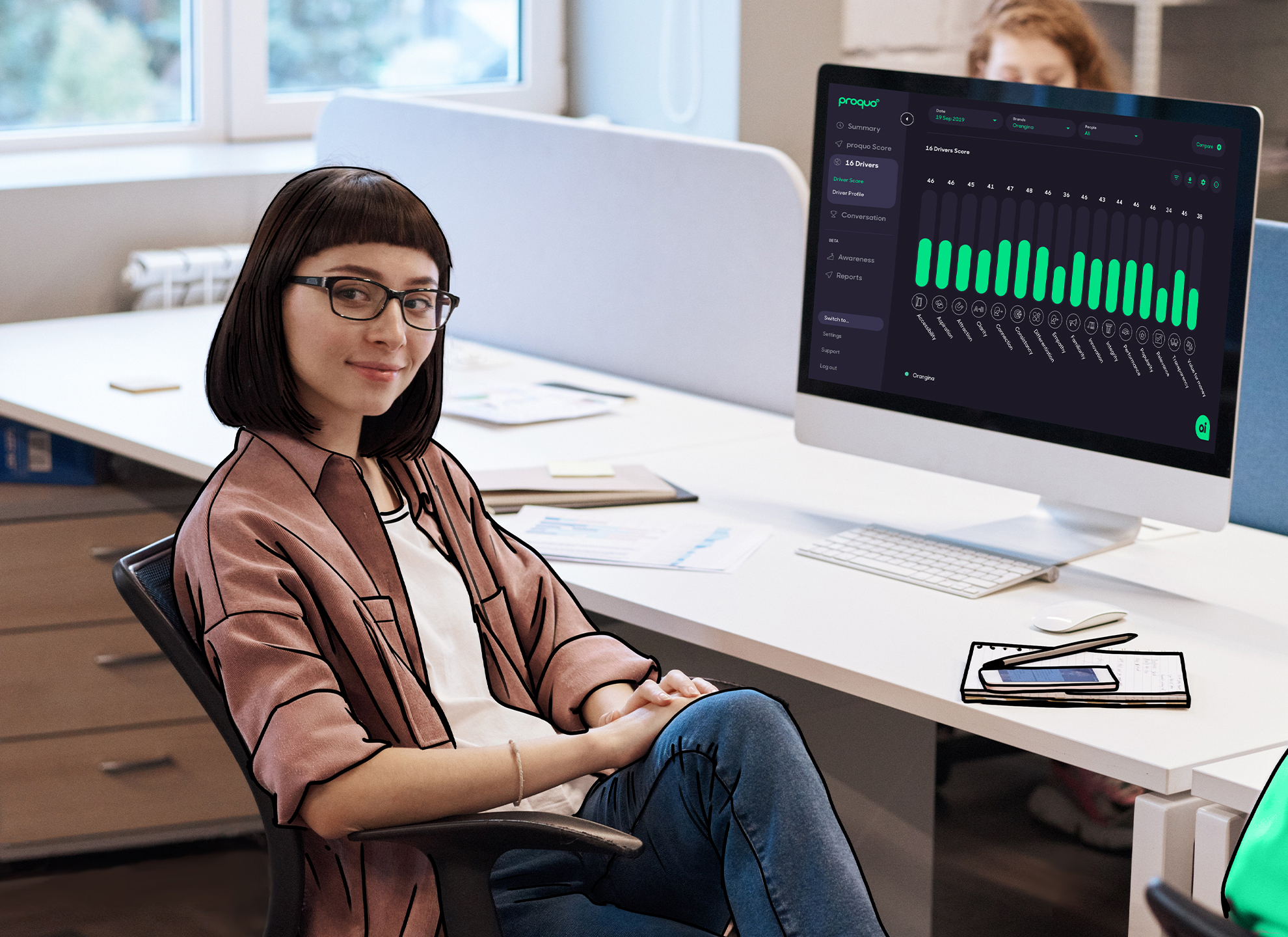 girl sitting at computer proquo ai