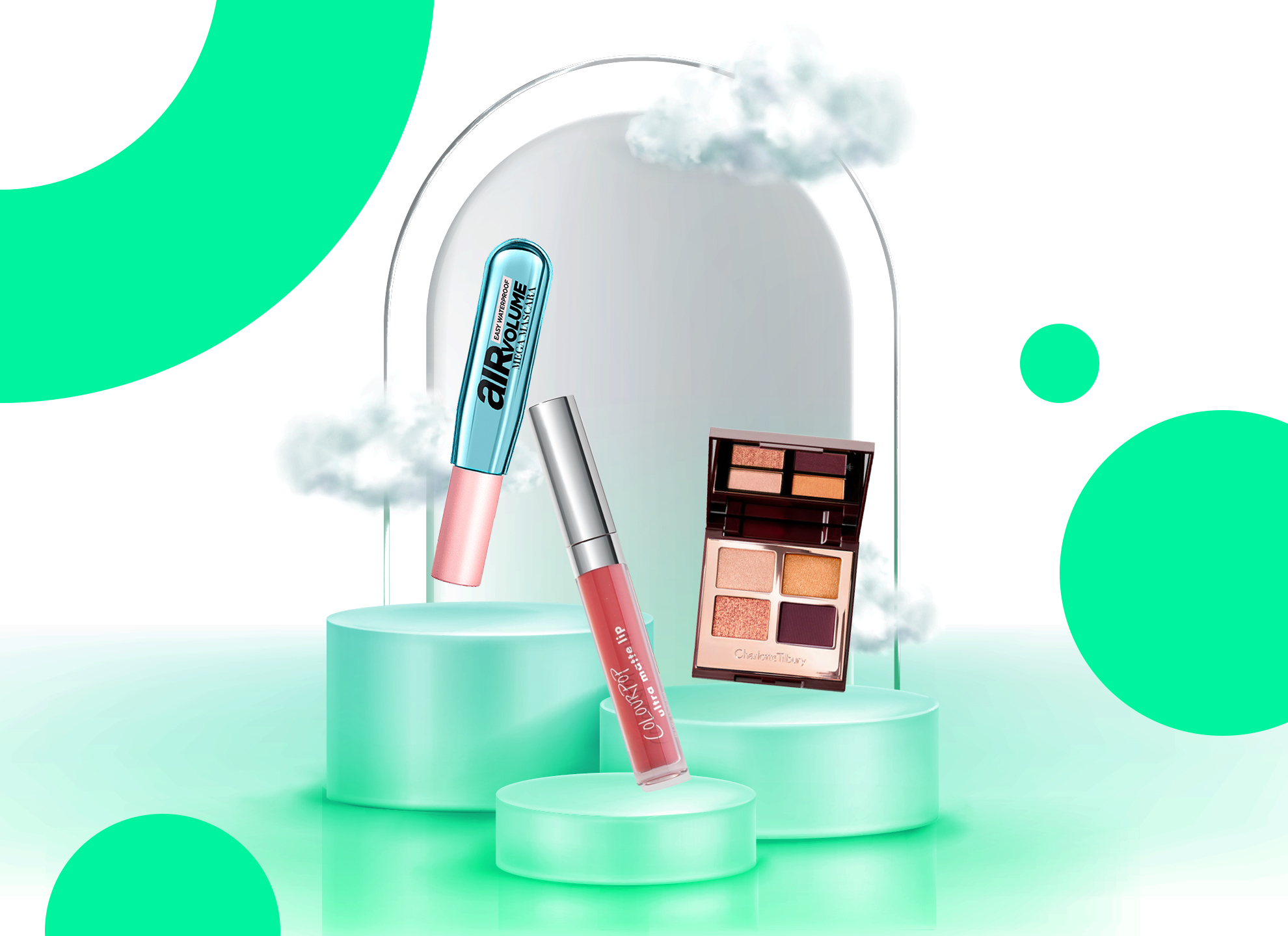 pink lipstick eyeshadow palette and lipgloss on podiums next to a mirror on a green background
