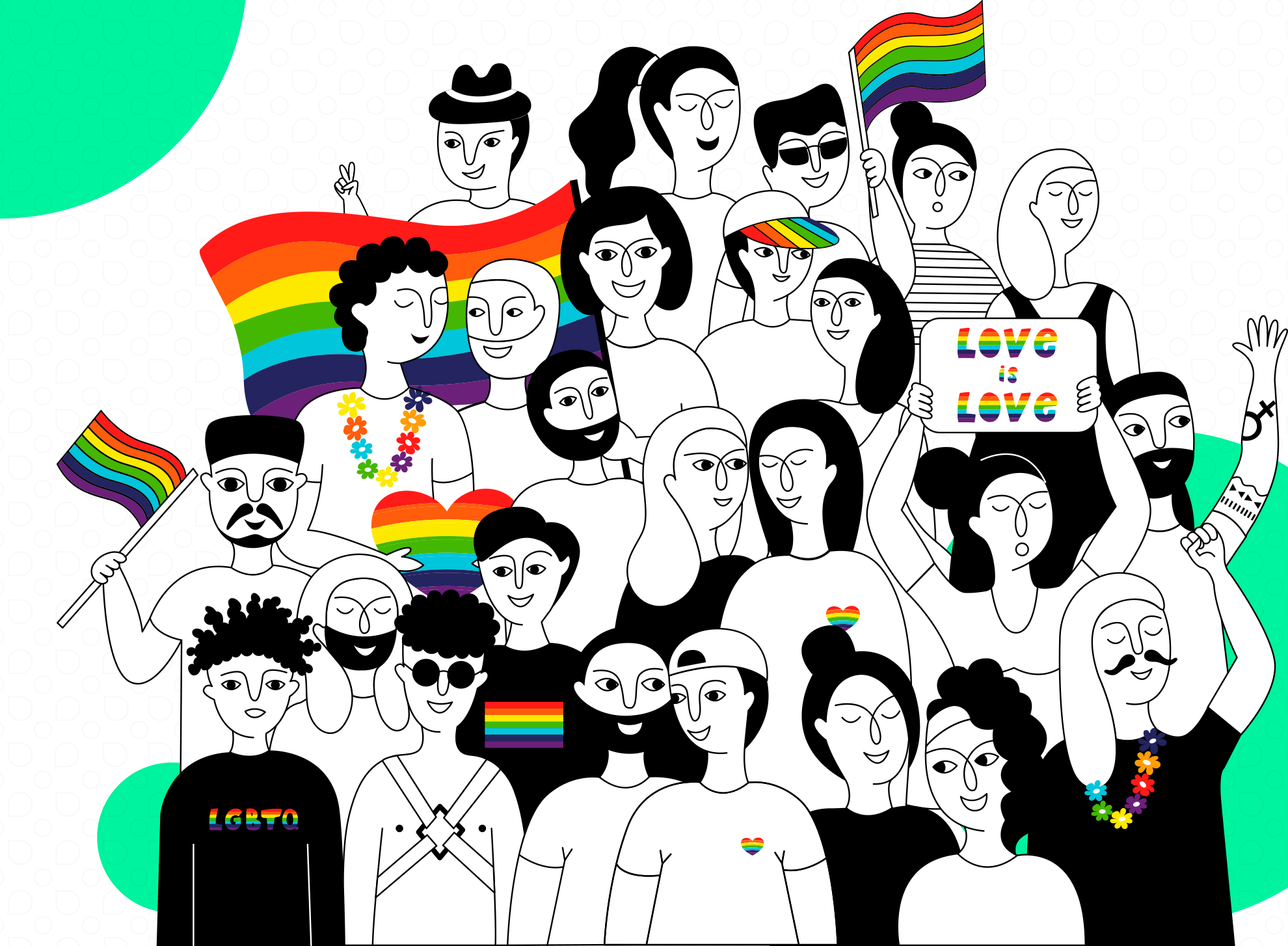 Graphic promoting support of the LGBTQ+ community